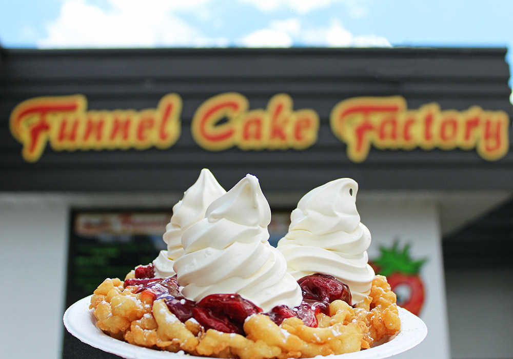 Funnel Cake in front of Funnel Cake Factory